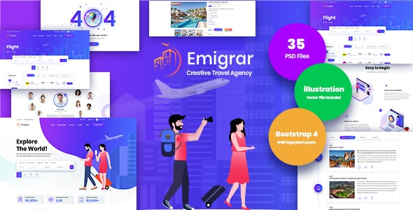 [Free Download] Emigrar- Creative Travel Agency PSD Template (Nulled) [Latest Version]