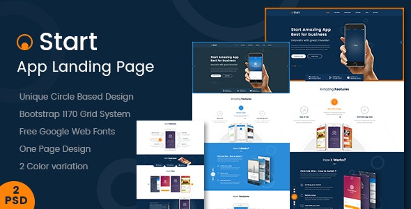 [Free Download] Start – App Landing Page PSD Template (Nulled) [Latest Version]