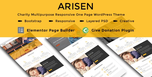[Free Download] ARISEN – Charity Multipurpose Responsive One Page WordPress Theme (Nulled) [Latest Version]