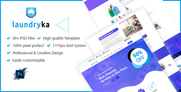 [Free Download] Laundryka – Dry Cleaning Services PSD Template (Nulled) [Latest Version]