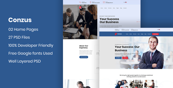[Free Download] Conzus – Business Consultancy PSD Template (Nulled) [Latest Version]