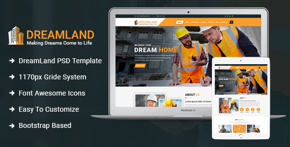 [Free Download] Dreamland – Construction PSD Template (Nulled) [Latest Version]