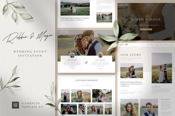 [Free Download] Robbie & Magie – Wedding Event Invitation Elementor Template Kit (Nulled) [Latest Version]