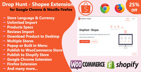 [Free Download] DropHunt- Shopee(WooCommerce & Shopify) Google Chrome & Firefox Extension (Nulled) [Latest Version]