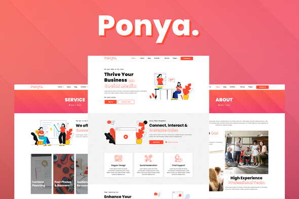 [Free Download] Ponya – Social Media Agency Template Kit (Nulled) [Latest Version]