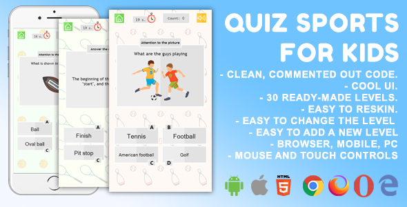 [Free Download] Quiz Sport. For Kids. Mobile, HTML5 Game. .c3p (Construct 3) (Nulled) [Latest Version]