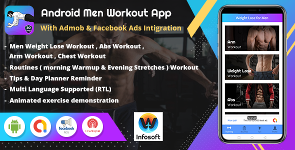 [Free Download] Android Men Workout at Home – Men Fitness App (lose Weight, arm workout, chest workout, abs workout) (Nulled) [Latest Version]