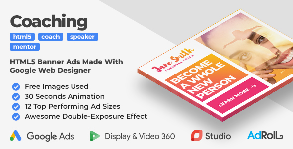 [Free Download] Coaching & Mentoring Animated HTML5 Banner Ad Templates With Double-Exposure Effect (GWD) (Nulled) [Latest Version]