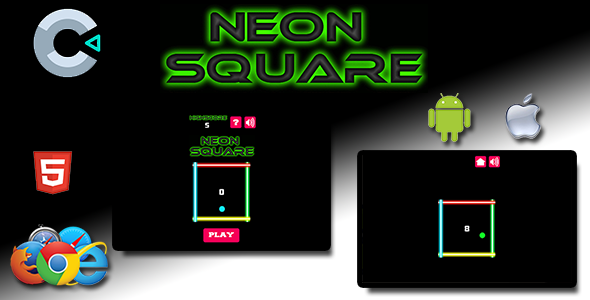 [Free Download] Neon Square – HTML5 Mobile Game (Nulled) [Latest Version]