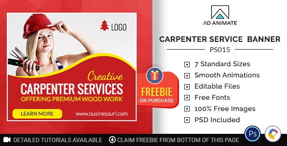 [Free Download] Professional Services | Carpenter Service Banner (PS015) (Nulled) [Latest Version]