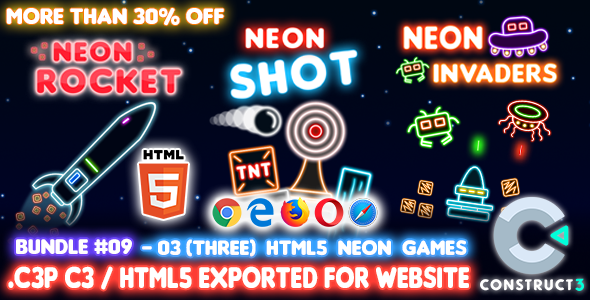 [Free Download] Game Bundle #09 – 03 (Three) HTML5 Neon Games (Construct 3 all source-code) (Nulled) [Latest Version]