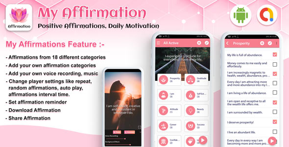 [Free Download] Android My Affirmation – Positive Affirmations, Daily Motivation – Quotes app (android app) (Nulled) [Latest Version]