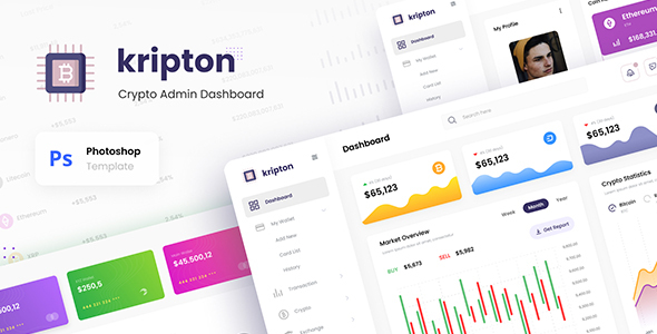 [Free Download] Kripton Admin – Cryptocurrency Dashboard UI Design Template PSD (Nulled) [Latest Version]