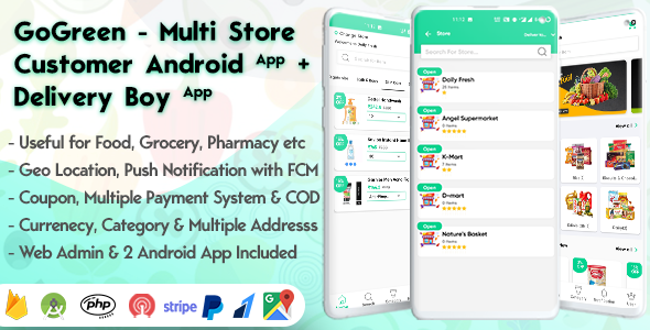 [Free Download] GoGreen – Food, Grocery, Pharmacy Multi Store(Vendor) Android App with Interactive Admin Panel (Nulled) [Latest Version]