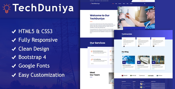 [Free Download] TechDuniya Responsive HTML5 Electrical Service Template (Nulled) [Latest Version]