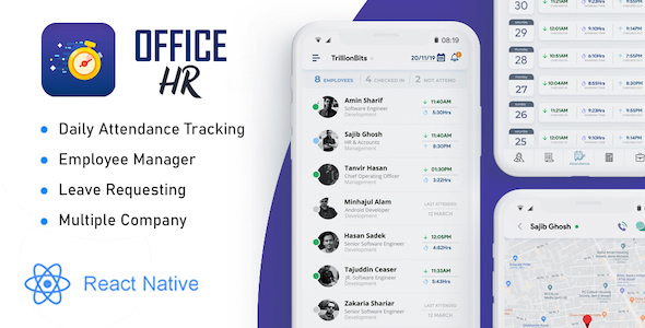 [Free Download] Office HR – Attendance, Employee Tracking , Leaves & Notice Board: React Native Mobile App (Nulled) [Latest Version]