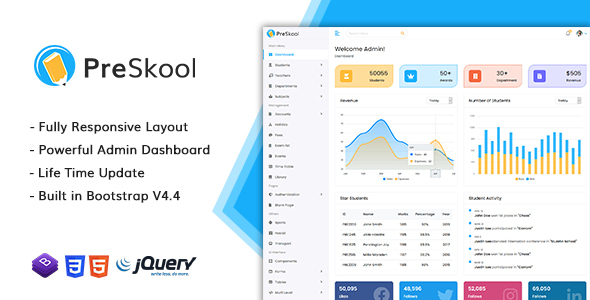 [Free Download] PreSkool – Bootstrap Admin HTML Template (Nulled) [Latest Version]