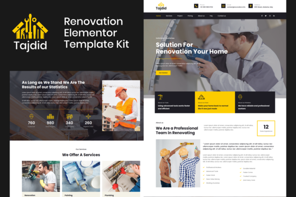 [Free Download] Tajdid – Renovation Elementor Template Kit (Nulled) [Latest Version]