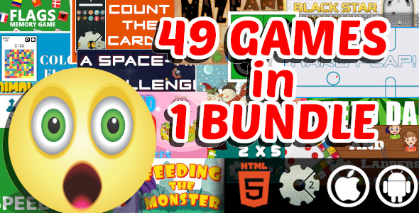 [Free Download] 49 Arcade and Casual and Educational HTML5 Games in 1 Bundle  GameMaker and Construct 2 Capx (Nulled) [Latest Version]