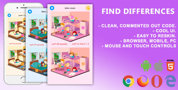 [Free Download] Find Differences. Mobile, Html5 Game .c3p (Construct 3) (Nulled) [Latest Version]