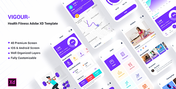 [Free Download] Vigour – Health Fitness Adobe XD Template (Nulled) [Latest Version]
