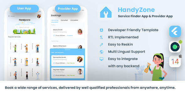 [Free Download] Home Service Finder | Provider | Booking Android + iOS App Template | 2 Apps | FLUTTER Handyzone (Nulled) [Latest Version]