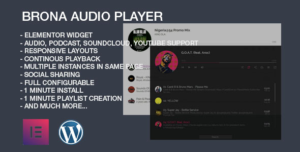 [Free Download] Brona Audio Player With Playlist Elementor Widget (Nulled) [Latest Version]