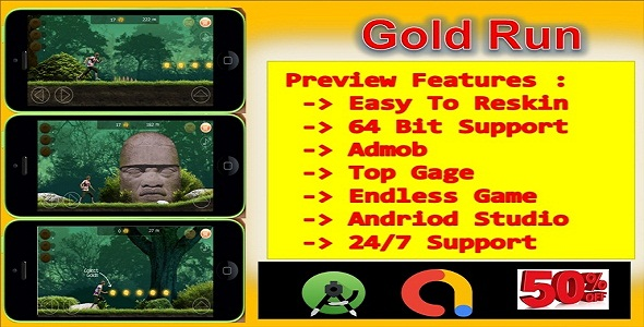 [Free Download] Gold Run (compete game+admob+android) (Nulled) [Latest Version]