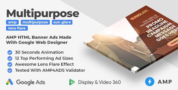 [Free Download] SunGlare – Multipurpose Animated AMP Banner Ad Templates With Lens Flare Effect (GWD, AMP) (Nulled) [Latest Version]