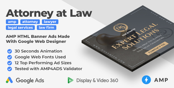 [Free Download] Law Firm – Animated AMP HTML Banner Ad Templates (GWD, AMP) (Nulled) [Latest Version]