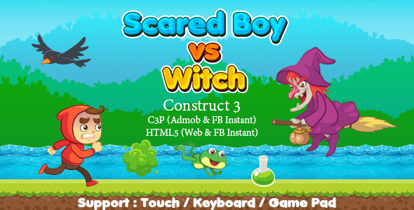 [Free Download] Scared Boy vs Witch (Construct 3 | C3P | HTML5) Admob and FB Instant Ready (Nulled) [Latest Version]