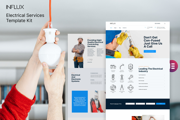 [Free Download] Influx – Electrician & Electrical Services Template Kit (Nulled) [Latest Version]