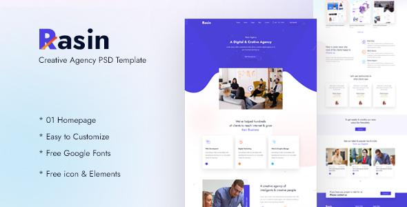 [Free Download] Rasin Creative Agency PSD Template (Nulled) [Latest Version]