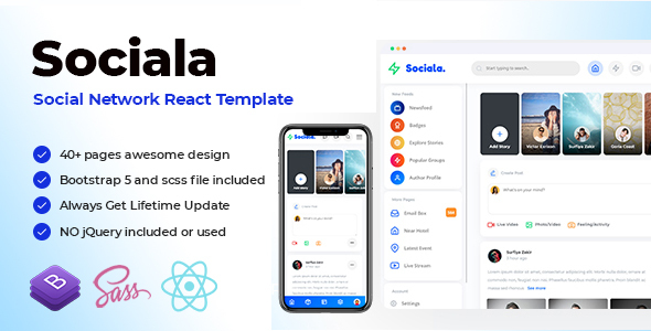 [Free Download] Sociala – Social Network App React Template (Nulled) [Latest Version]