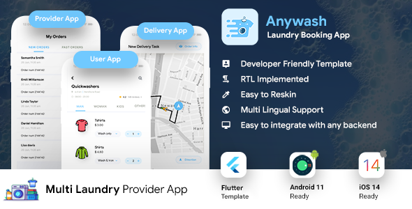 [Free Download] Multi Vendor Laundry Booking & Delivery App| Android + iOS App Template | 3 Apps | FLUTTER | Anywash (Nulled) [Latest Version]