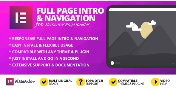 [Free Download] Full Page Intro And Navigation Addon for Elementor Page Builder (Nulled) [Latest Version]