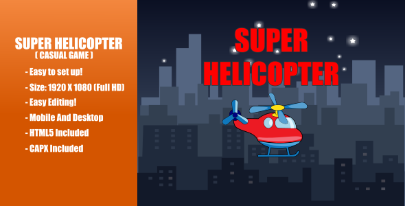 [Free Download] Super Helicopter | Construct 2 (Nulled) [Latest Version]