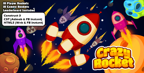 [Free Download] Crazy Rocket 2 Space Shooter Game (Construct 3 | C3P | HTML5) Admob and FB Instant Ready (Nulled) [Latest Version]
