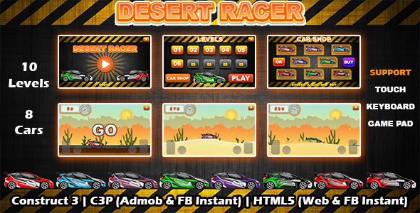 [Free Download] Desert Racer Car Racing Game (Construct 3   C3P   HTML5) Admob and FB Instant Ready (Nulled) [Latest Version]