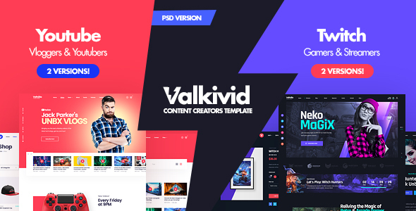 [Free Download] Valkivid – Streamer and Youtuber PSD Template (Nulled) [Latest Version]