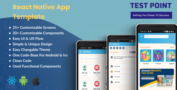 [Free Download] Test Point – React Native E-Learning App Template (Nulled) [Latest Version]