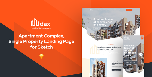 [Free Download] DAX – Apartment Complex Landing Page for Sketch (Nulled) [Latest Version]