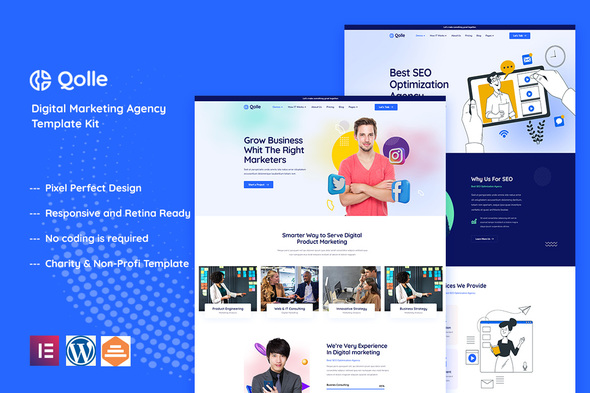 [Free Download] Qolle – Digital Marketing Agency Elementor Template Kit (Nulled) [Latest Version]